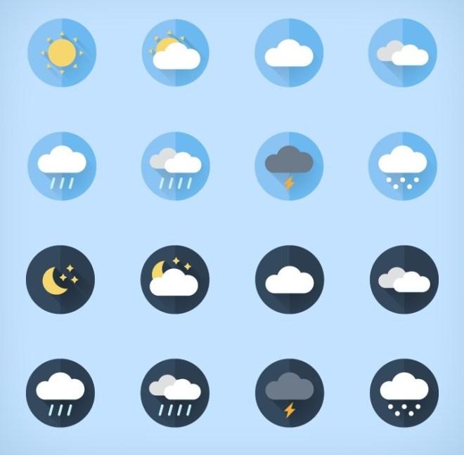 16 Flat Weather Icons