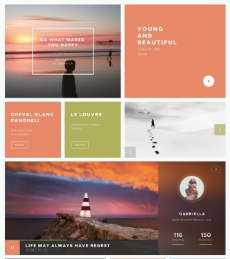 Flat UI Kits Red and Green PSD