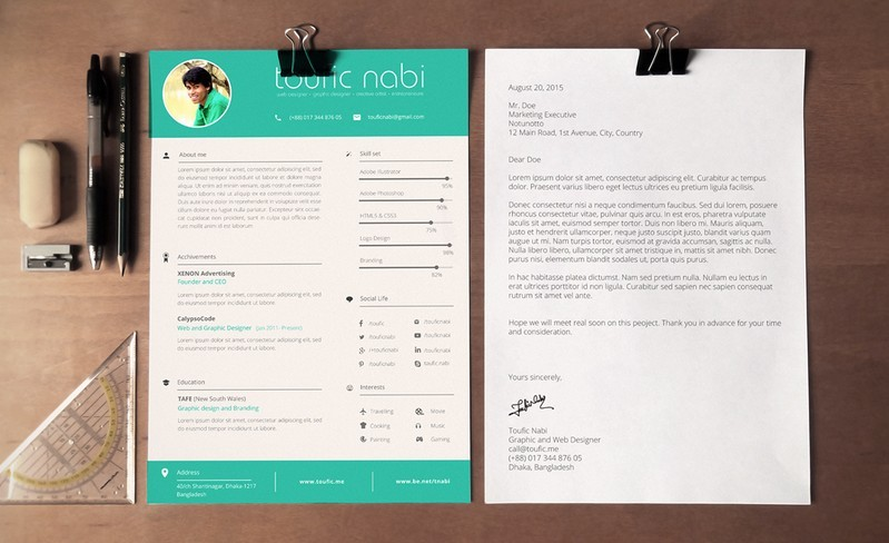 free flat style resume template  psd vector