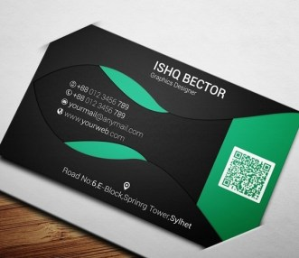 Black & Green ECO Business Card Template PSD