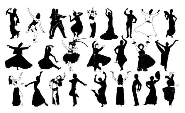 Dancer Silhouette Set Vector