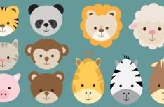 Flat Cute Animal Icon Set Vector