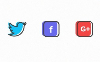 3 Flat Color Social Icons Vector