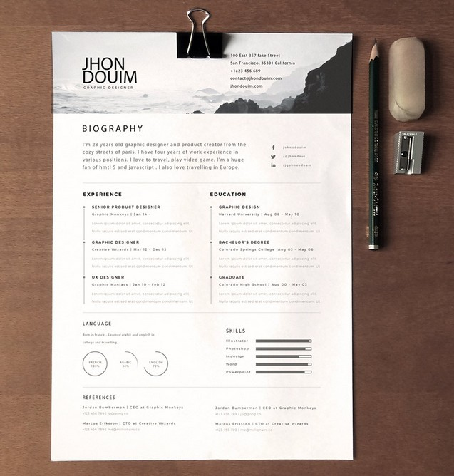 free clean realistic resume cv template psd titanui