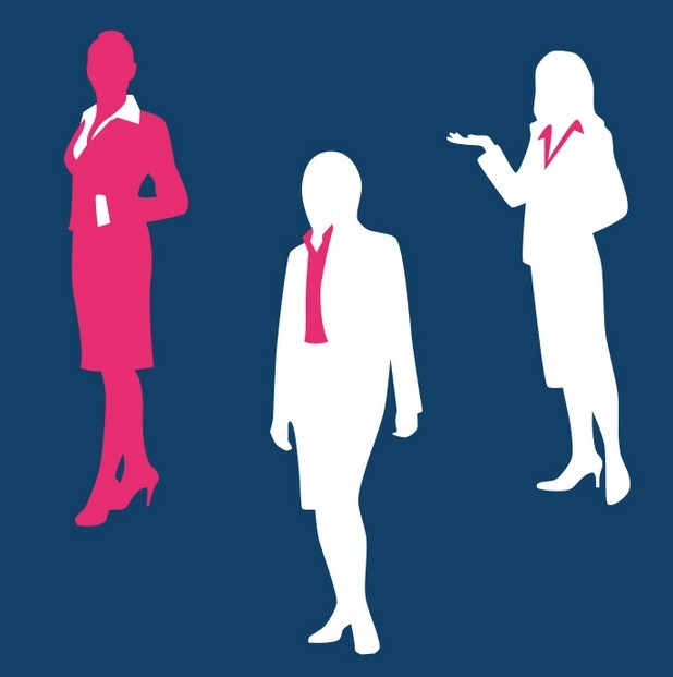 Business Men and Women Silhouette Set PSD