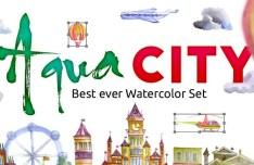 Watercolor AQUA CITY Set