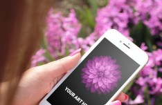 iPhone 6 In Woman's Hands Mockup PSD