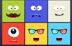 6 Square Cartoon Faces PSD