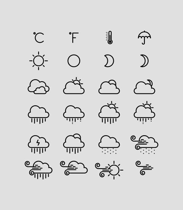 24 Weather Line Icons Vector