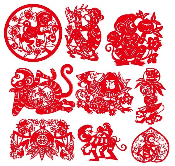 Year of the Monkey 2016 Paper Cutting Chinese Zodiac Vector