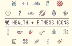 Colorful Health & Fitness Icons