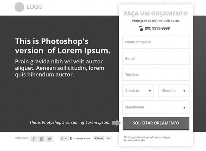 Greyscale Landing Page Template PSD
