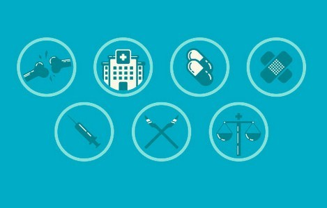 7 Flat Medial Icons Vector