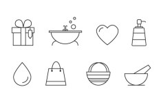 8 Skin Care Line Icons Vector