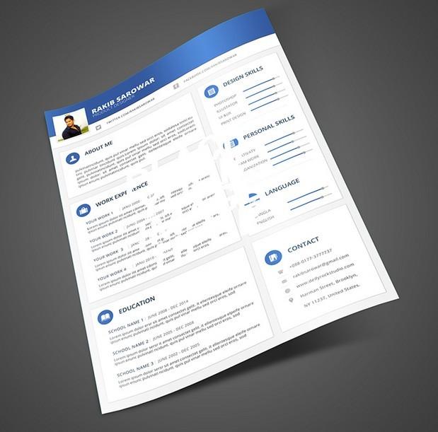 Blue Material Design Resume Mockup PSD