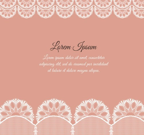 Lace Frame with Pink Background Vector