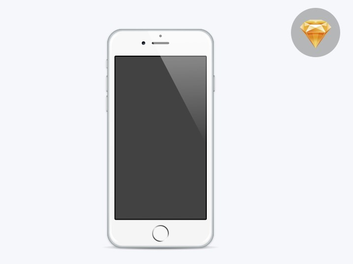 Free Minimal Flat iPhone 6 Template For Sketch - TitanUI