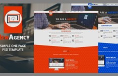 New Agency One Page Web Template PSD