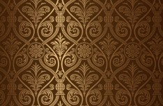 Glossy Brown Floral Pattern Vector