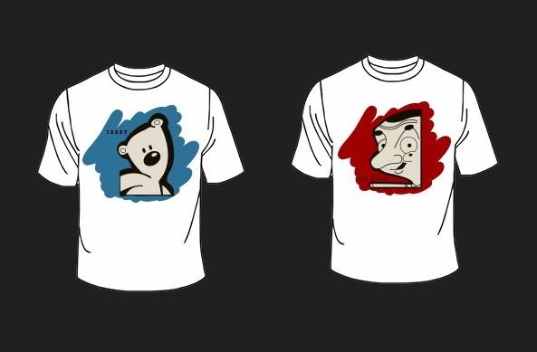Mr BEAN and Teddy T-shirt Mockup PSD
