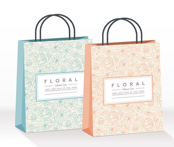 Floral Paper Shopping Bag Template Vector