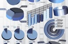 Blue Business Chart & Diagram Set Vector