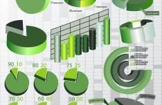 Green Business Chart & Diagram Set Vector