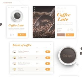 Simple Coffee UI Kit PSD