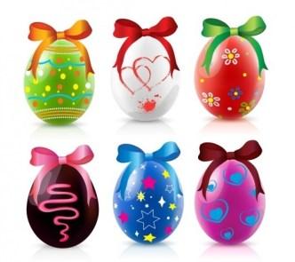 6 Happy Easter Eggs Vector