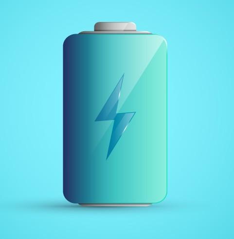 3D Blue Battery Vector
