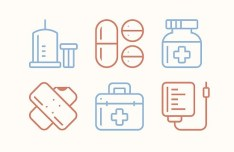 6 Medical Line Icons Vector