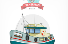 Fishman Boat Vector Illustration