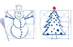Hand Drawn Snowman & Christmas Tree Vector