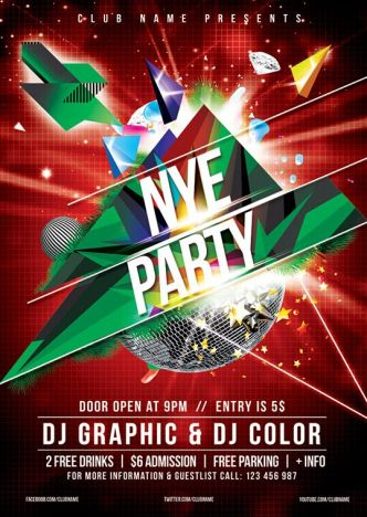 New Year & Christmas Party Flyer Template PSD