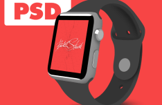 Flat Apple Watch 3 4 View Template PSD
