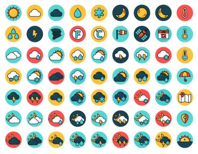 Flat Round Weather Icon Set Vector