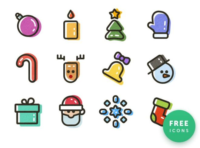 12 Colorful Christmas & New Year Icons