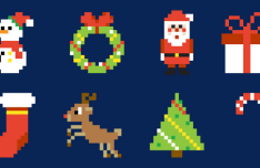 16 Pixel Christmas Icons Vector