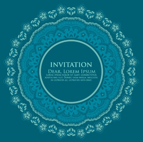 Vintage Blue Circle Floral Invitation Pattern Background Vector