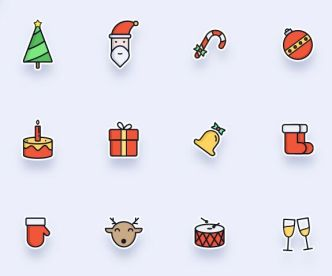 Clean Cute Christmas Icon Set