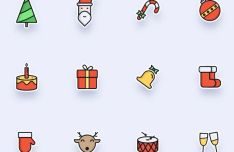 Clean Cute Christmas Icon Set