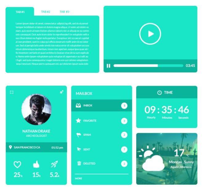 Umbrella Flat Green UI UX Pack