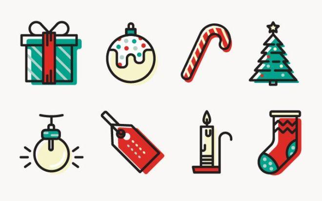 8 Minimal Christmas Icons Vector