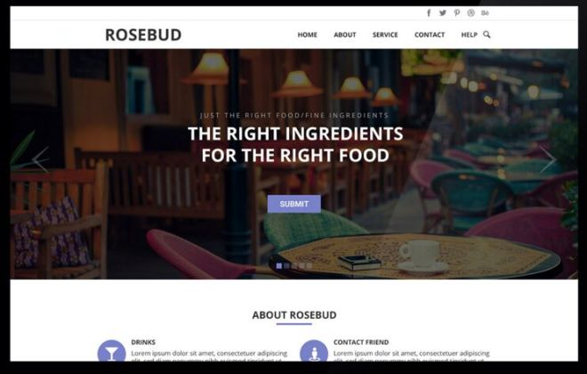 Rosebud One Page Template Design PSD