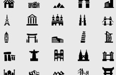 100 Pixel Perfect Building and Landmark Icon Set (PSD+Vector)