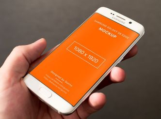 Galaxy S6 Edge In Hand Mockup PSD