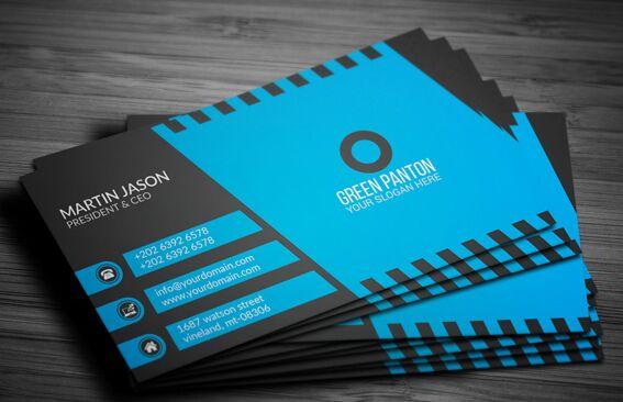 Free elegant blue corporate business card template vector for Elegant business cards templates