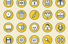 20 Rounded Long Shadow Icons