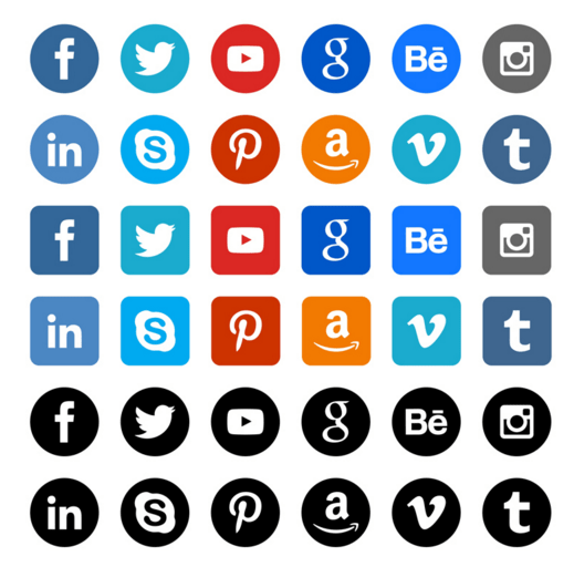 36 Rounded Social Media Icons