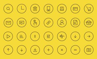 24 Thin Line Circle Icons Vector